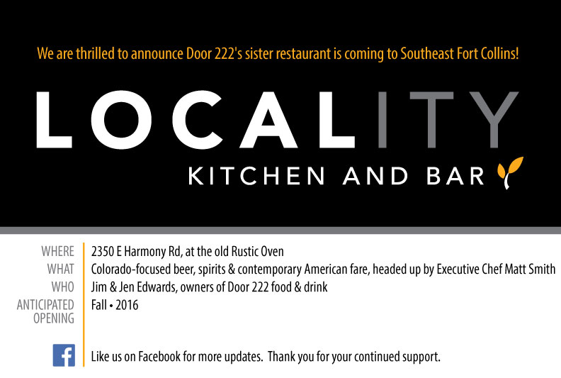 Locality Kitchen and Bar Coming Soon