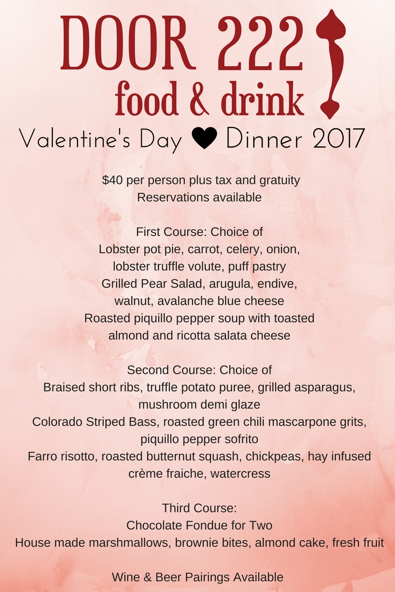 Valentine's Day Dinner 2017. 3-course dinner, $40 per person, wine and beer pairings available
